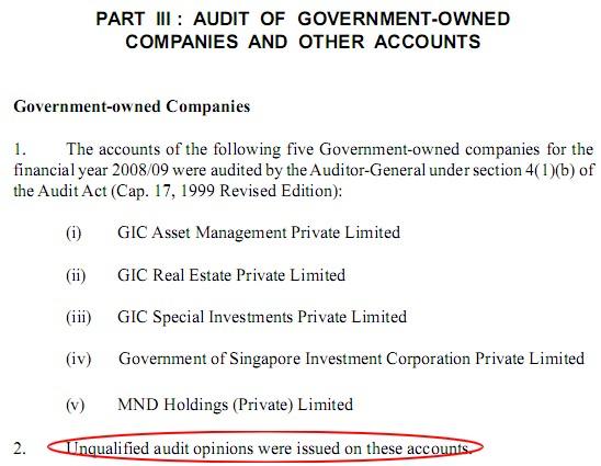 AGO's audit on GIC